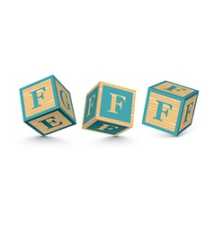 Letter f wooden alphabet blocks vector