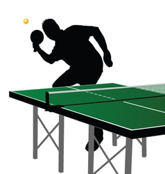 Ping pong player silhouette five vector