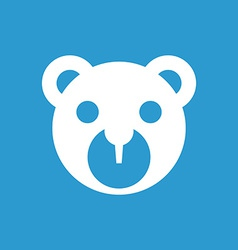 Bear toy icon white on the blue background vector