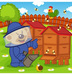 Teddy bear beekeeper keeps bee smoker vector