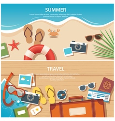 Summer and travel flat banner template vector