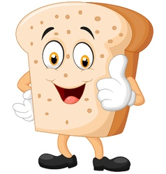 Cartoon slice of bread giving thumbs up vector