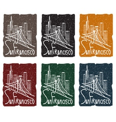 San francisco skyline grunge sticker set vector