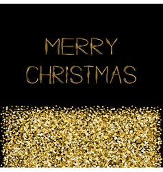 Gold sparkles glitter merry christmas text vector