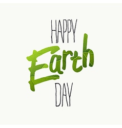 Happy earth day typography with green leaf veins vector