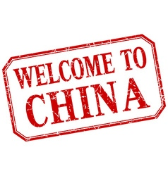 China - welcome red vintage isolated label vector