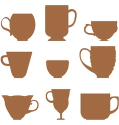 Set of silhouettes mugs vector