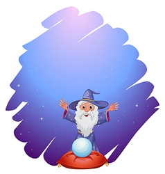 A wizard with a crystal ball above a pillow vector image vector image