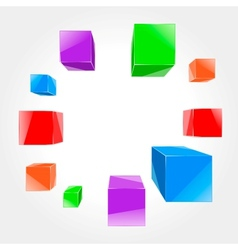 colorful cubes flying out of the center vector image