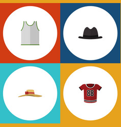flat icon clothes set of t-shirt singlet panama vector image vector image