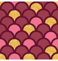 Gold glitter fish scale seamless pattern vector image