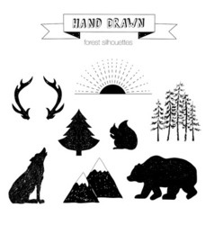 Hand drawn wild forest silhouettes vector