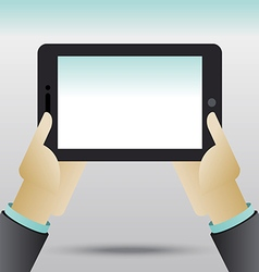 Hands holding tablet computer vector image