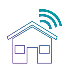 house silhouette with wifi signal vector image