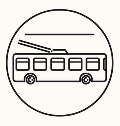 Minimal outline trolleybus icon vector