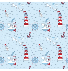Nautical sea seamless pattern vector