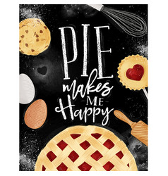 Poster pie chalk vector