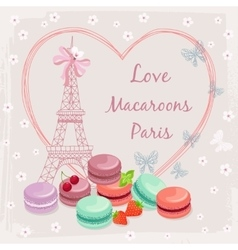 Poster with french macaroon cakes and the Eiffel vector image