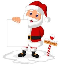 Santa cartoon holding blank paper vector image vector image