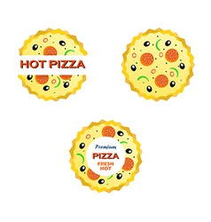 Set of Emblems with a Pizza vector image vector image