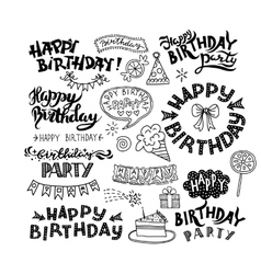 Set of Happy Birthday Hand Drawn Calligraphy Pen vector image vector image