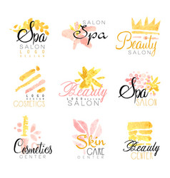 Spa beauty salon set for label design health and vector