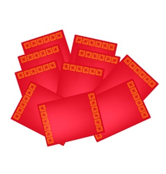 Stack of red envelopes for chinese new year vector