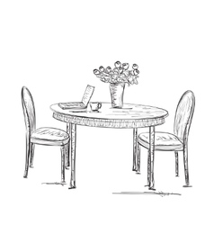 Street cafe hand drawn furniture sketch vector