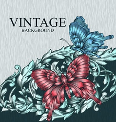 Vintage decorative background with butterflies vector