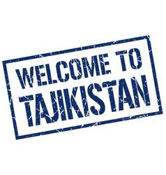 welcome to tajikistan stamp vector image