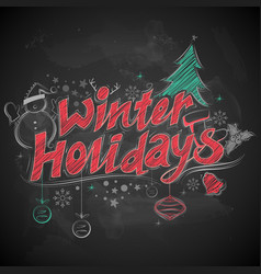 winter holiday merry christmas chalk lettering vector image vector image