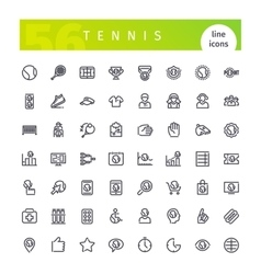 Tennis Line Icons Set vector image