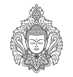Buddha head on floral background vector