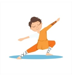 Boy in shaolin monk orange clothes doing vector