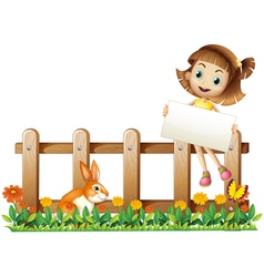A girl sitting at the fence with an empty board vector
