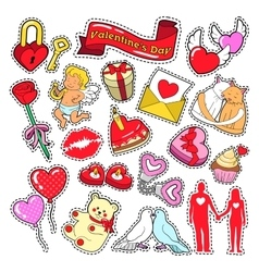 Happy valentines day stickers patches badges vector