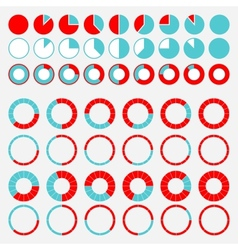 Set of brightly colored pie charts vector