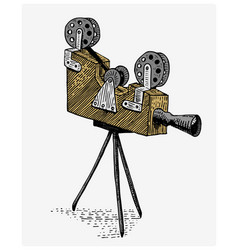 Photo movie or film camera vintage engraved hand vector