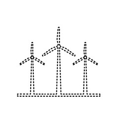 Wind turbines sign black dashed icon on vector