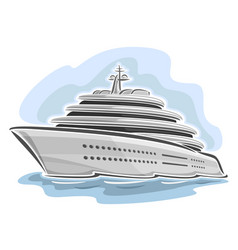 Cruising large mega yacht vector