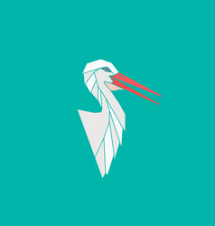 heron portrait made in green background vector image