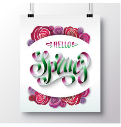poster with a handwritten phrase-hello spring 3 vector image