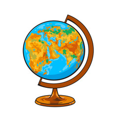 Hand drawn school classroom globe geographical vector