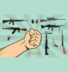 Fight against gun control with hand vector