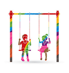 Little boy and girl are playing swing together vector