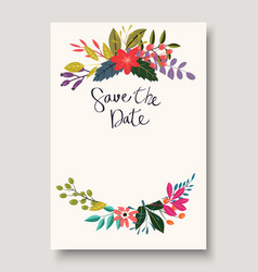 Vintage flowers greeting card vector
