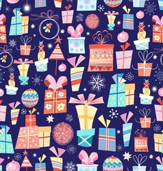 Christmas texture with gifts vector