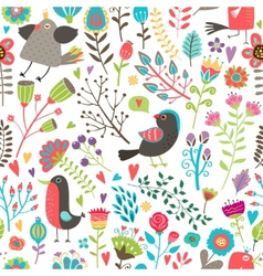 Hand-drawn birds and flowers seamless pattern vector