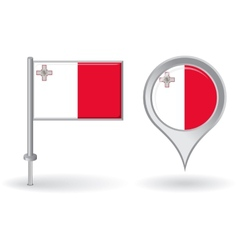 Maltese pin icon and map pointer flag vector