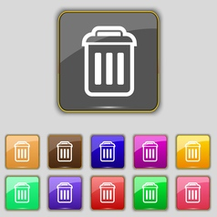 Trash icon sign set with eleven colored buttons vector